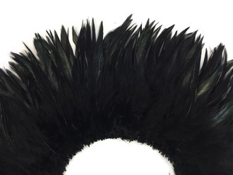 """6-7"""" Black Strung Chinese Rooster Saddle Feathers"""