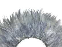 4 Inch Strip - Silver Gray Strung Chinese Rooster Saddle Feathers