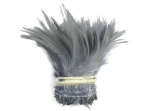 1 Yard - Silver Gray Strung Chinese Rooster Saddle Wholesale Feathers (Bulk)