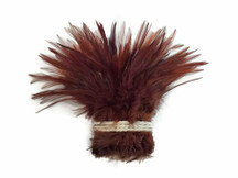 1 Yard - DYED BROWN Strung Chinese Rooster Saddle Wholesale Feathers (bulk)