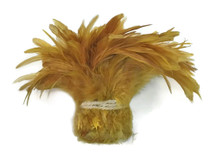 1 Yard - GOLDEN YELLOW Bleached and Dyed Strung Rooster Schlappen Wholesale feathers (bulk)