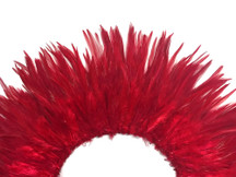 4 Inch Strip - Red Strung Chinese Rooster Saddle Feathers