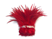 1 Yard - RED Strung Chinese Rooster Saddle Wholesale Feathers (bulk)