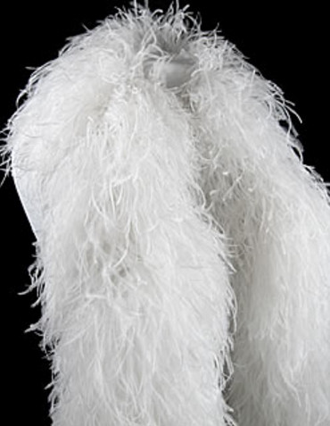 1 Piece White Ostrich Feather Boa 12 Ply Moonlight Feather
