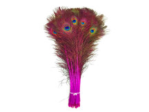 "100 Pieces - 20-25"" HOT PINK Dyed Over Natural Peacock Tail Eye Wholesale Feathers (bulk)"