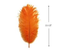 "10 Pieces - 11-13"" Orange Ostrich Dyed Body Drabs Feathers"