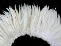 "6-7"" Natural White Strung Rooster Neck Hackle Feathers"