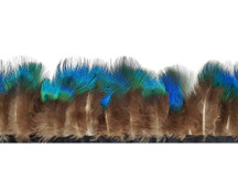 1 yard - IRIDESCENT BLUE Peacock Plumage Fringe / trim Feathers