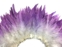 2 Inch Strip - Purple Silver Ombre Bleached and Dyed Strung Rooster Schlappen Feathers