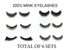 Set of 6 Pairs,  100% Mink Fur and Crystal 3D Handmade False Eyelash Volume Extensions