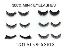 Set of 6 Pairs,  100% Mink Fur and Crystal 3D Handmade False Eyelash Volume Extensions