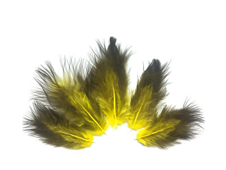Solid Yellow and Black Rooster Chickabou Fluff Feathers