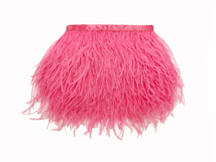 1 Yard - Candy Pink Ostrich Fringe Trim Wholesale Feather (Bulk)