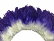 2 Inch Strip - Eggplant Two Tone Bleached and Dyed Strung Rooster Schlappen Feathers