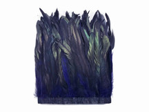 "1 Yard - 10-12"" Navy Blue Dyed Over Natural Coque Tails Long Feather Trim (Bulk)"