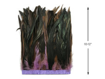 """1 Yard - 10-12"""" Lavender Dyed Over Natural Coque Tails Long Feather Trim (Bulk)"""