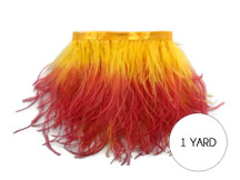 1 Yard - Fiery Red Ombre Ostrich Fringe Trim Wholesale Feather (Bulk)