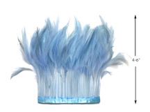 1 Yard - Light Blue Stripped Rooster Hackle Wholesale Feather Trim (Bulk)