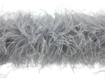 2 Yards - Light Gray 3 Ply Ostrich Feather Medium weight Boa