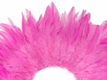 4 Inch Strip - Candy Pink Strung Chinese Rooster Saddles Feathers