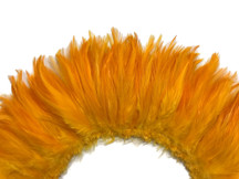 4 Inch Strip - Golden Yellow Strung Rooster Neck Hackle Feathers