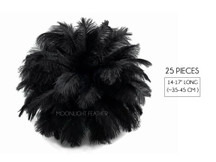 "25 Pieces - 14-17"" Black Ostrich Drab Centerpiece Feathers Sets"