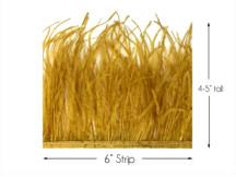 6 Inch Strip - Antique Gold Ostrich Fringe Trim Feather