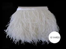 10 Yards - Snow White Ostrich Fringe Trim Wholesale Feather (Bulk)