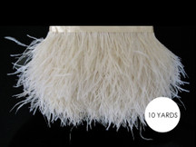 10 Yards - Ivory Ostrich Fringe Trim Wholesale Feather (Bulk)