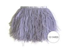 10 Yards - Grey Ostrich Fringe Trim Wholesale Feather (Bulk)
