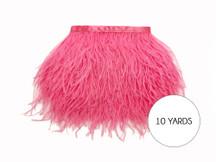 10 Yards - Candy Pink Ostrich Fringe Trim Wholesale Feather (Bulk)