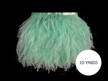 10 Yards - Mint Green Ostrich Fringe Trim Wholesale Feather (Bulk)