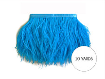 10 Yards - Turquoise Blue Ostrich Fringe Trim Wholesale Feather (Bulk)