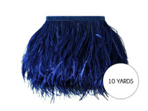 10 Yards - Navy Blue Ostrich Fringe Trim Wholesale Feather (Bulk)