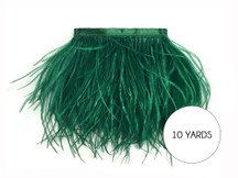 10 Yards - Hunter Green Ostrich Fringe Trim Wholesale Feather (Bulk)