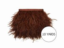 10 Yards - Brown Ostrich Fringe Trim Wholesale Feather (Bulk)