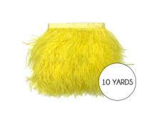 10 Yards - Yellow Ostrich Fringe Trim Wholesale Feather (Bulk)