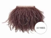 10 Yards - Mocha Ostrich Fringe Trim Wholesale Feather (Bulk)