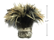 "1 Yard - 6-7"" Natural Golden Badger Strung Chinese Rooster Saddle Wholesale Feathers (Bulk)"