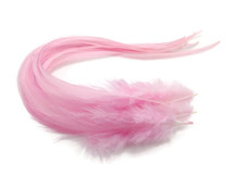 6 Pieces - Solid Light Pink Thick Long Rooster Hair Extension Feathers