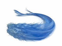 6 Pieces - Solid Light Blue Thick Long Rooster Hair Extension Feathers