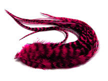 6 Pieces - Claret Thick Long Grizzly Rooster Hair Extension Feathers