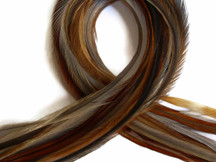 10 Pieces - Dark Honey Ginger Thin Long Rooster Hair Extension Feathers
