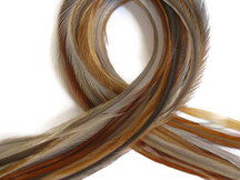10 Pieces - Medium Honey Ginger Thin Long Rooster Hair Extension Feathers