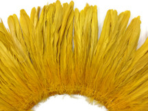 2.5  Inch Strip - Gold Strung Natural Bleach And Dyed Coque Tails Feathers