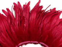 2.5  Inch Strip - Red Strung Natural Bleach And Dyed Coque Tails Feathers