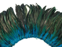 2.5  Inch Strip -  Turquoise Half Bronze Natural Dyed Coque Tail Strung Feathers