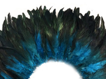 4 Inch Strip - Turquoise Blue Dyed Half Bronze Strung Rooster Schlappen Feathers