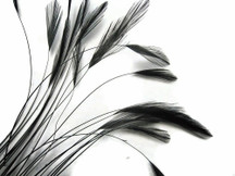 1 Dozen - Black Stripped Rooster Hackle Feather
