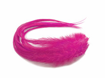 6 Pieces - Solid Hot Pink Thick Long Rooster Hair Extension Feathers